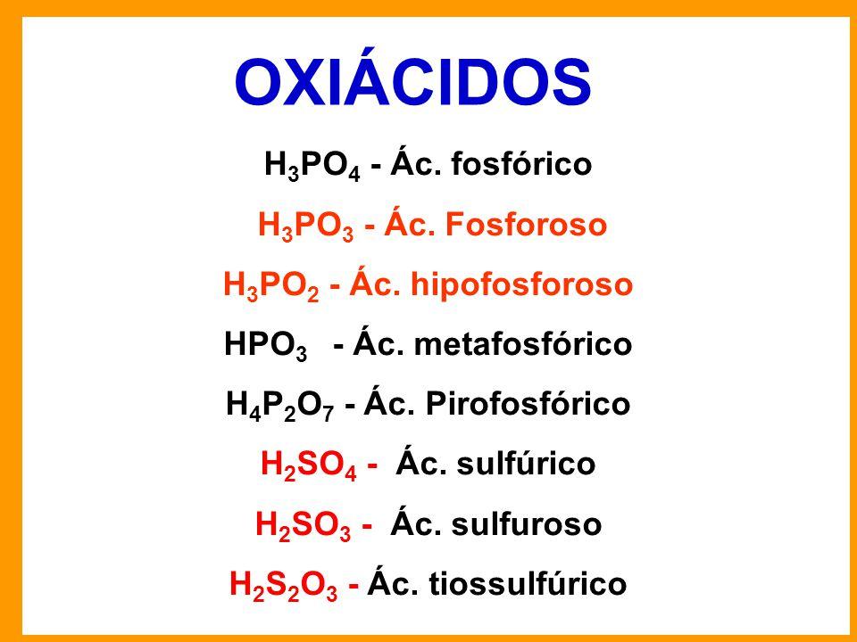 OXIÁCIDOS H3PO4 - Ác. fosfórico H3PO3 - Ác. Fosforoso