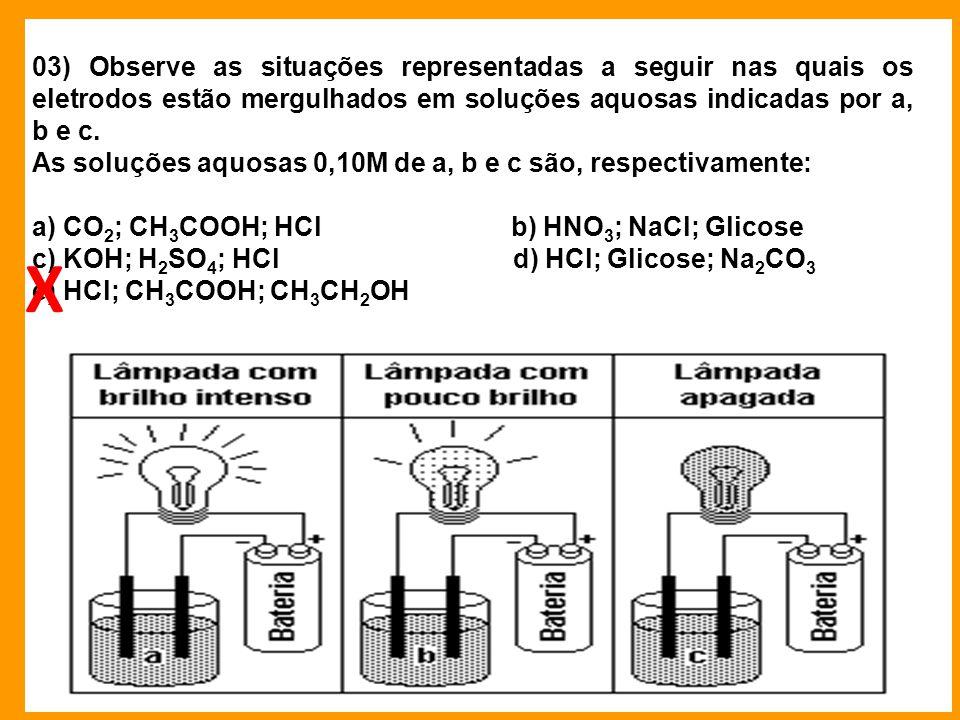 03) Observe as situações representadas a seguir nas quais os eletrodos estão mergulhados em soluções aquosas indicadas por a, b e c.