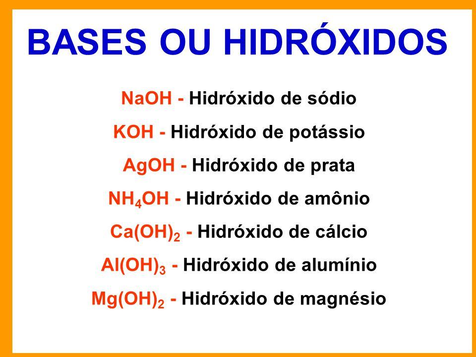 BASES OU HIDRÓXIDOS NaOH - Hidróxido de sódio