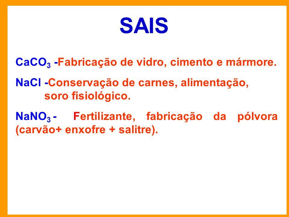 SAIS CaCO3 -Fabricação de vidro, cimento e mármore.