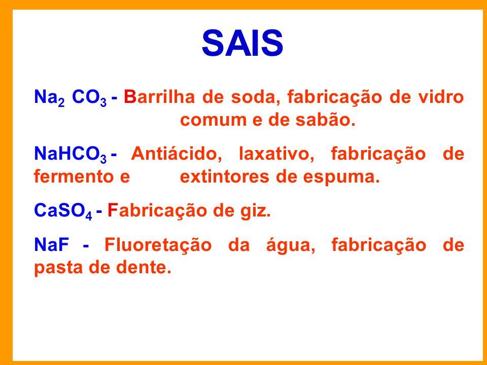 SAIS Na2 CO3 - Barrilha de soda, fabricação de vidro comum e de sabão.