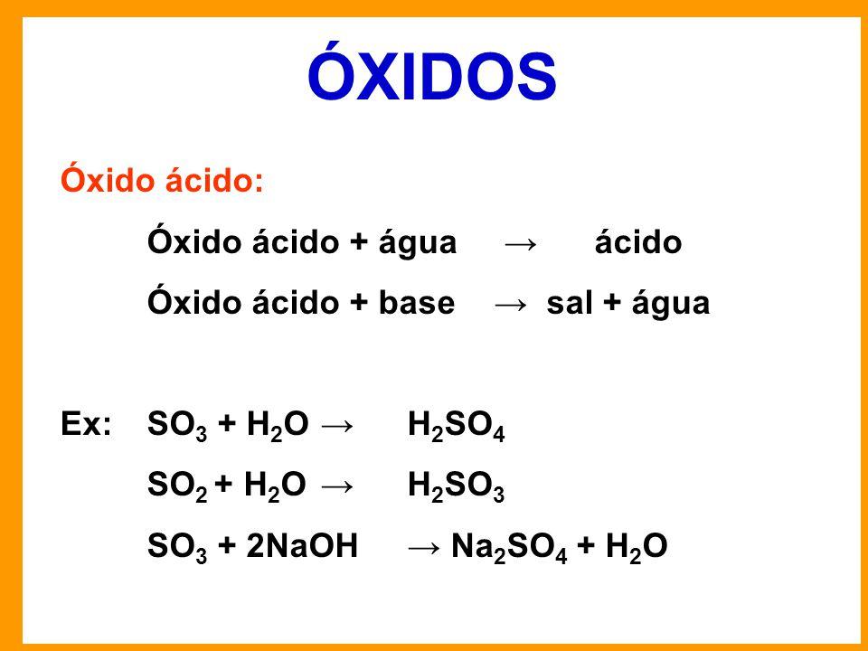 ÓXIDOS Óxido ácido: Óxido ácido + água → ácido