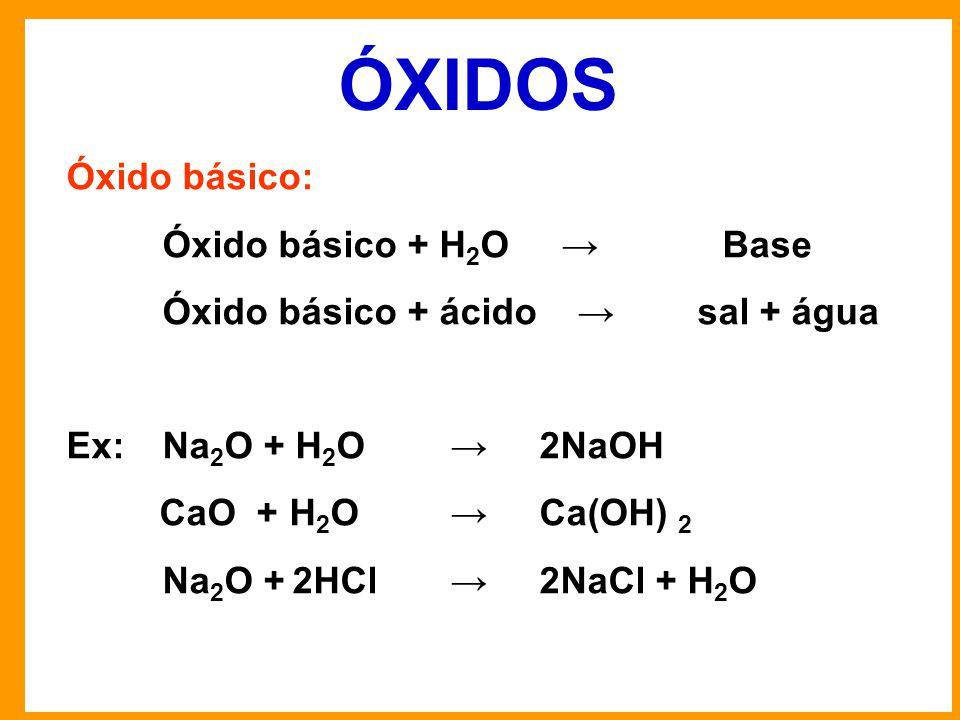 ÓXIDOS Óxido básico: Óxido básico + H2O → Base