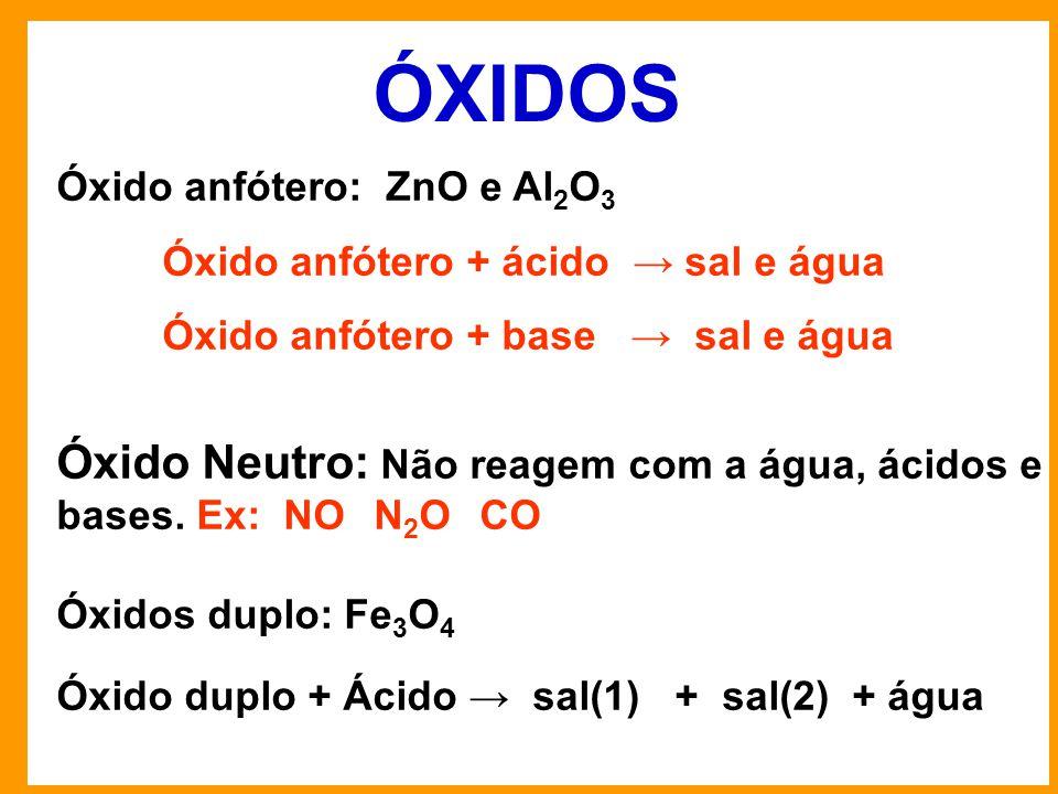 ÓXIDOS Óxido anfótero: ZnO e Al2O3. Óxido anfótero + ácido → sal e água. Óxido anfótero + base → sal e água.