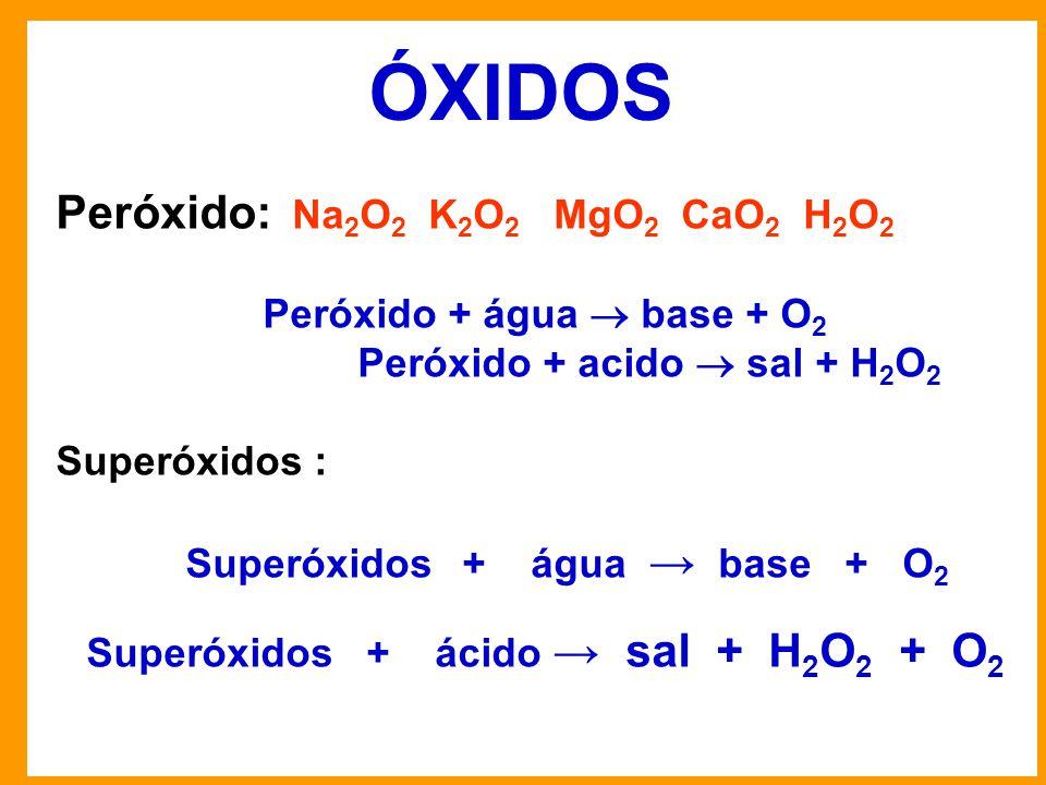 ÓXIDOS Peróxido: Na2O2 K2O2 MgO2 CaO2 H2O2 Peróxido + água  base + O2