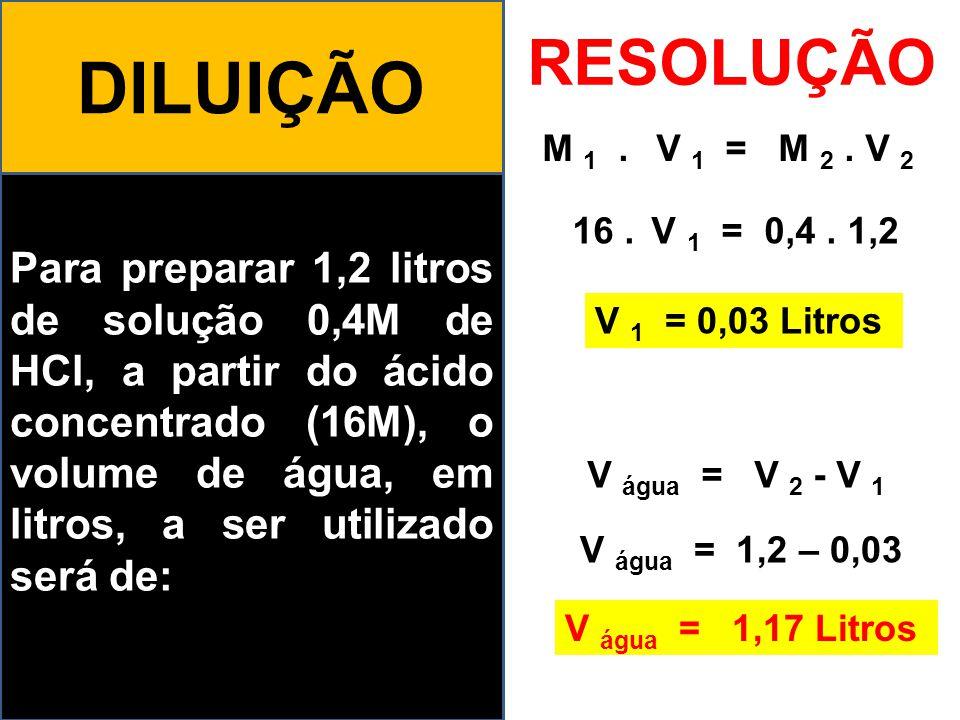 DILUIÇÃO RESOLUÇÃO. M 1 . V 1 = M 2 . V 2.