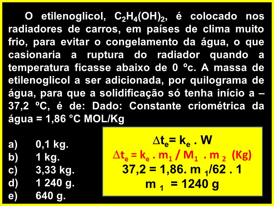 te= ke . W te = ke . m1 / M1 . m 2 (Kg) 37,2 = 1,86. m 1/62 . 1