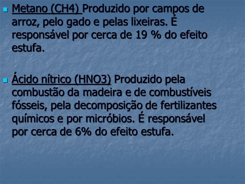 Metano (CH4) Produzido por campos de arroz, pelo gado e pelas lixeiras
