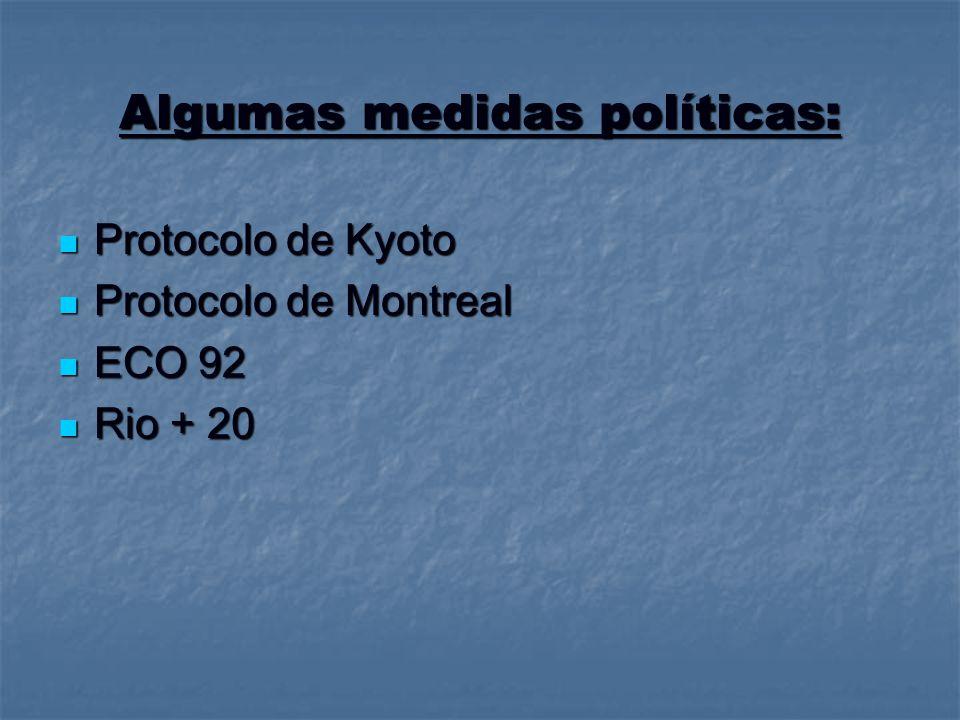 Algumas medidas políticas: