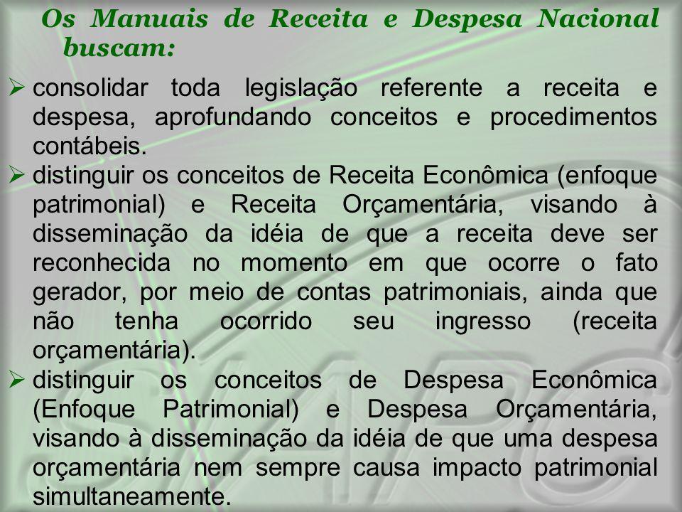 Os Manuais de Receita e Despesa Nacional buscam:
