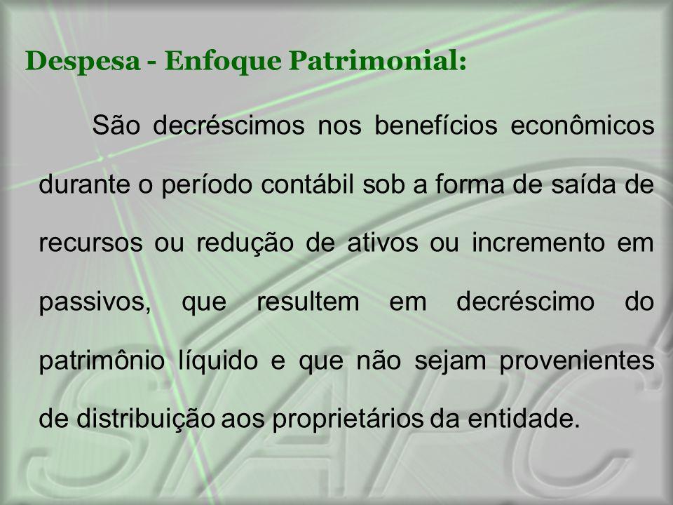 Despesa - Enfoque Patrimonial: