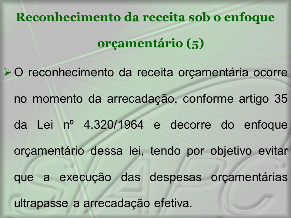 Reconhecimento da receita sob o enfoque orçamentário (5)