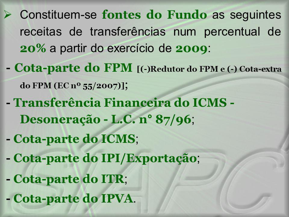 Constituem-se fontes do Fundo as seguintes receitas de transferências num percentual de 20% a partir do exercício de 2009: