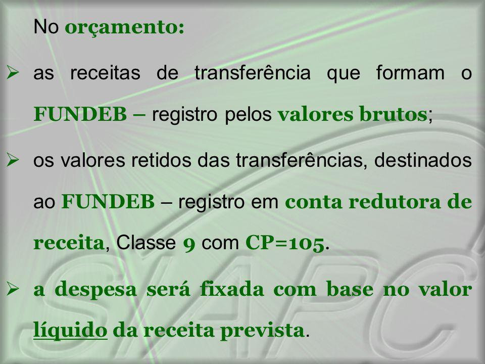 No orçamento: as receitas de transferência que formam o FUNDEB – registro pelos valores brutos;