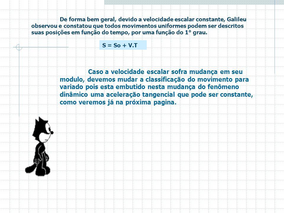 De forma bem geral, devido a velocidade escalar constante, Galileu observou e constatou que todos movimentos uniformes podem ser descritos suas posições em função do tempo, por uma função do 1° grau.