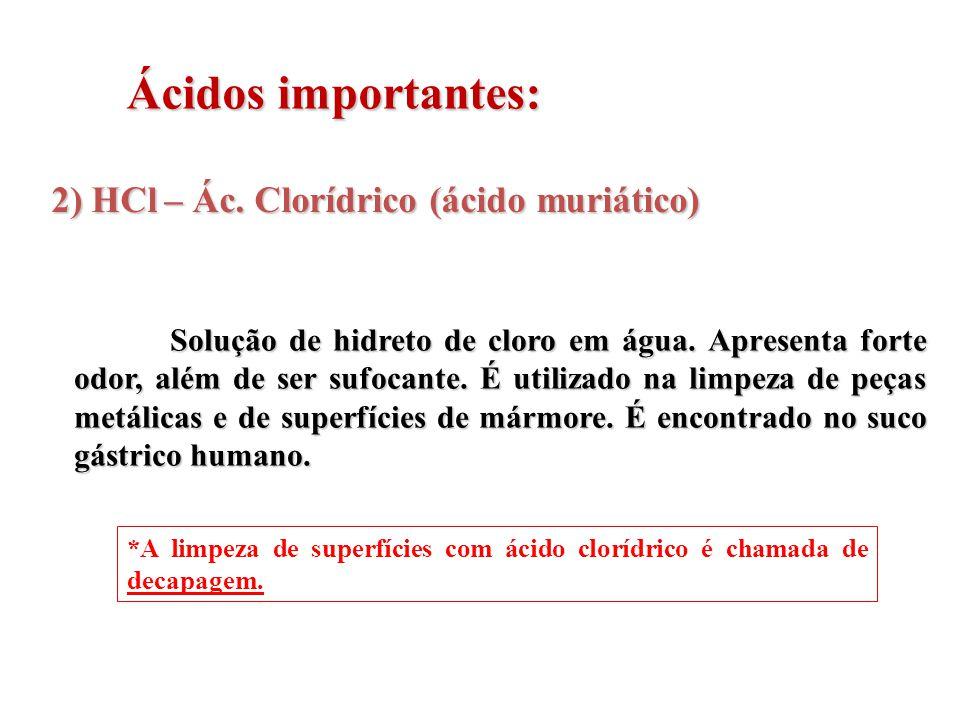Ácidos importantes: 2) HCl – Ác. Clorídrico (ácido muriático)