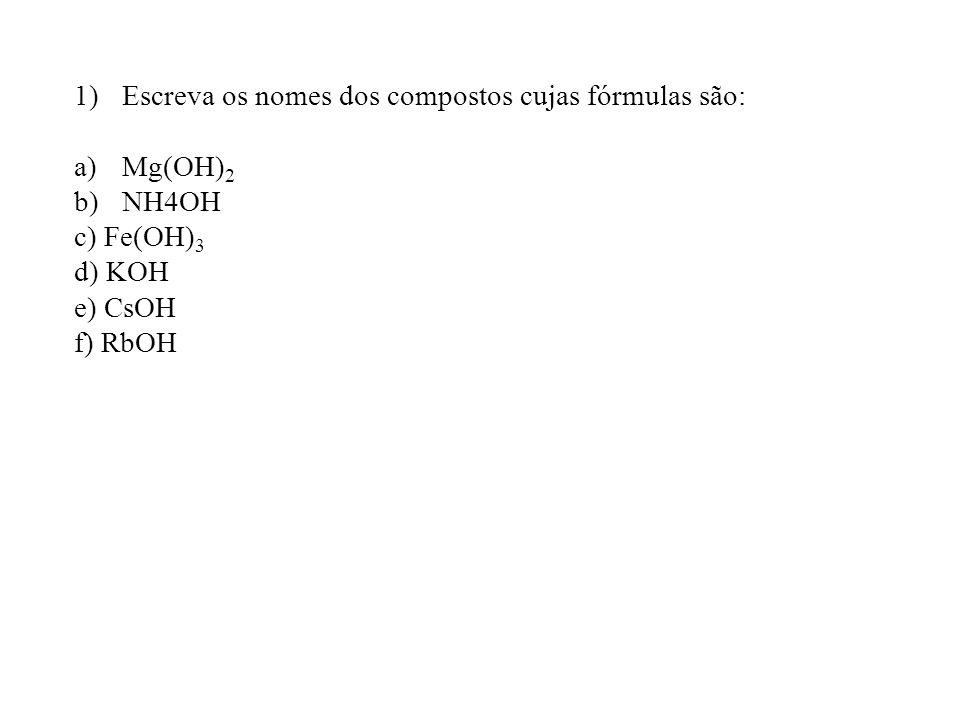 Escreva os nomes dos compostos cujas fórmulas são: