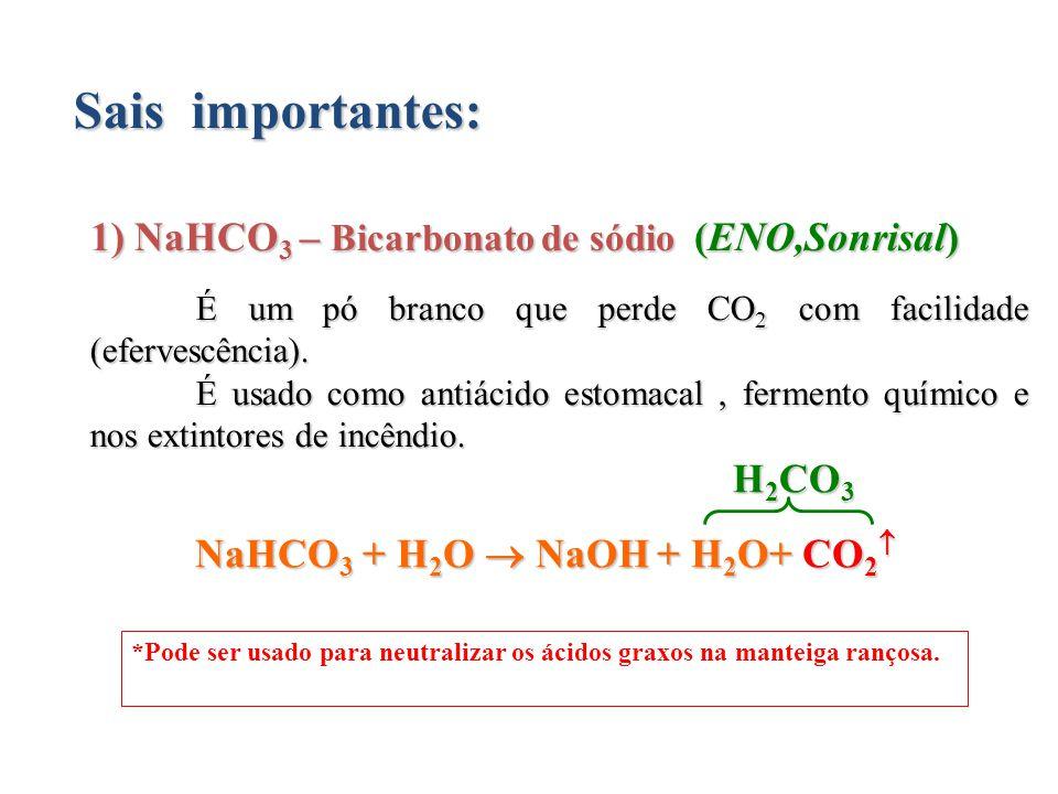 Sais importantes: 1) NaHCO3 – Bicarbonato de sódio (ENO,Sonrisal)