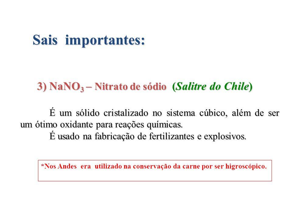 3) NaNO3 – Nitrato de sódio (Salitre do Chile)