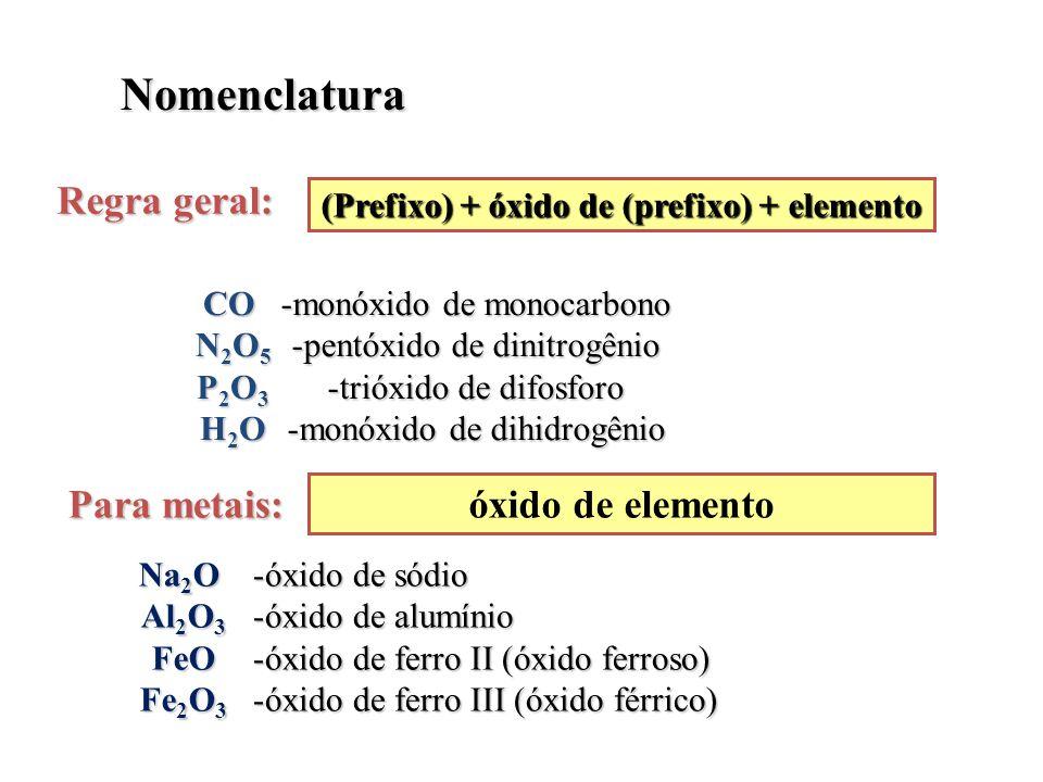 (Prefixo) + óxido de (prefixo) + elemento