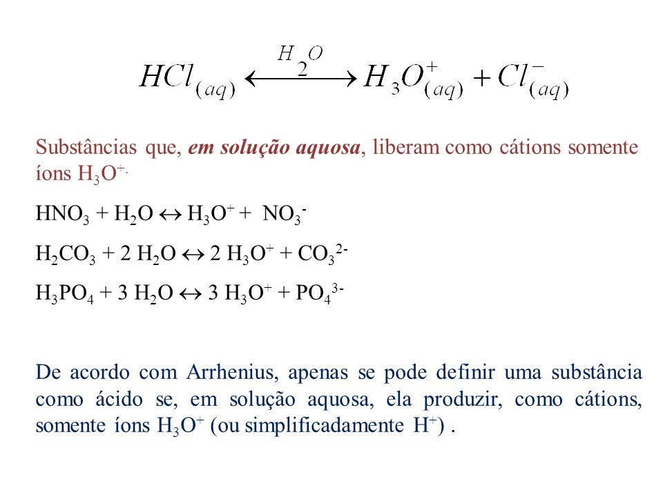 Substâncias que, em solução aquosa, liberam como cátions somente íons H3O+.