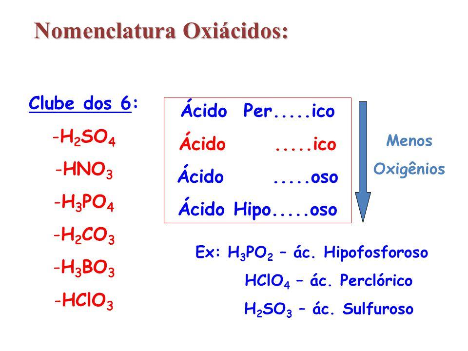 Nomenclatura Oxiácidos: Ex: H3PO2 – ác. Hipofosforoso