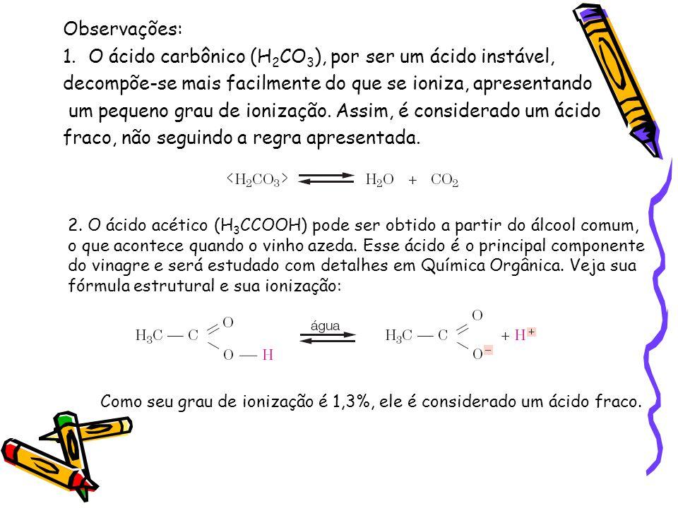 O ácido carbônico (H2CO3), por ser um ácido instável,