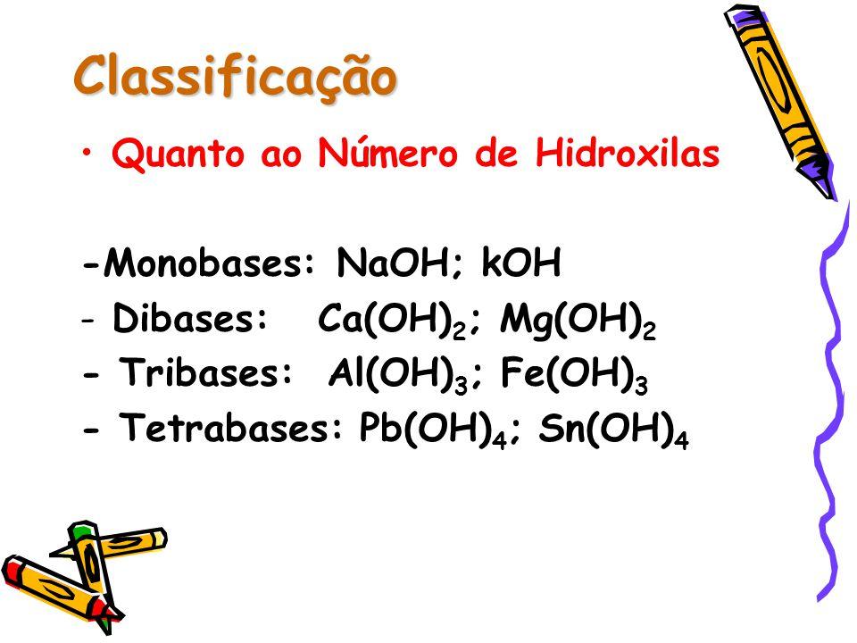 Classificação Quanto ao Número de Hidroxilas -Monobases: NaOH; kOH