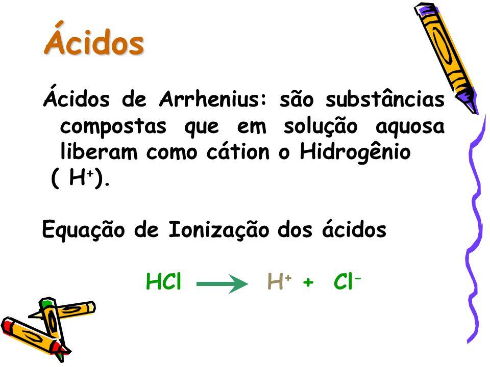 Ácidos Ácidos de Arrhenius: são substâncias compostas que em solução aquosa liberam como cátion o Hidrogênio.