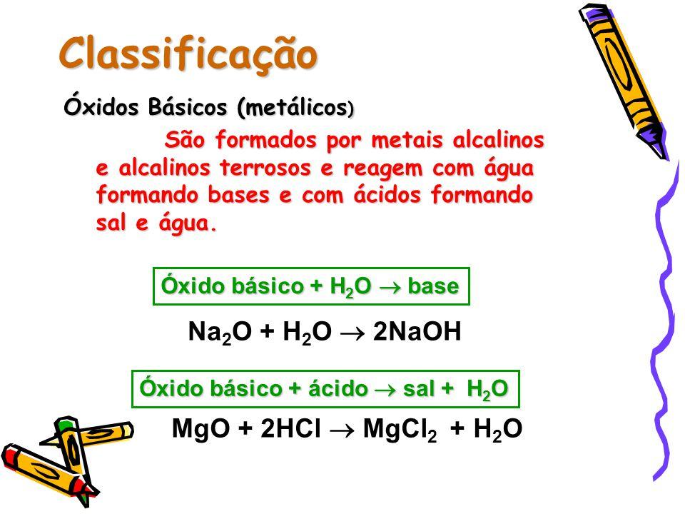 Classificação Na2O + H2O  2NaOH MgO + 2HCl  MgCl2 + H2O