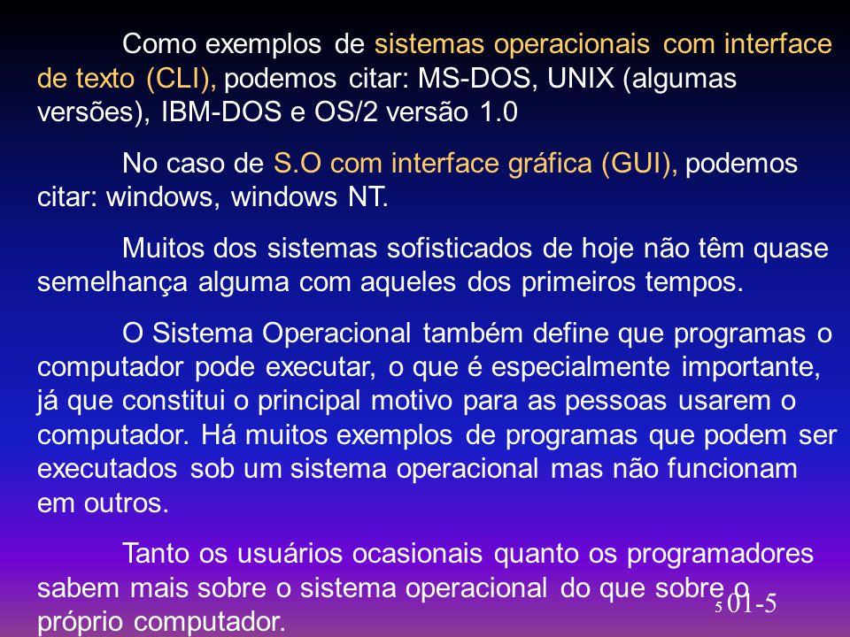 Como exemplos de sistemas operacionais com interface de texto (CLI), podemos citar: MS-DOS, UNIX (algumas versões), IBM-DOS e OS/2 versão 1.0