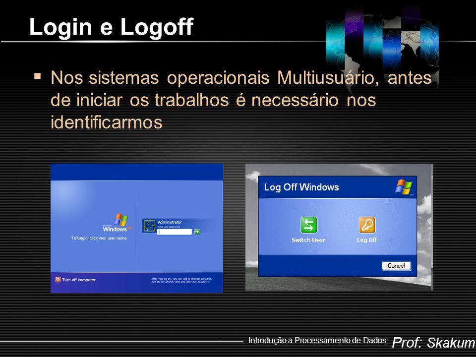 Login e Logoff Nos sistemas operacionais Multiusuário, antes de iniciar os trabalhos é necessário nos identificarmos.