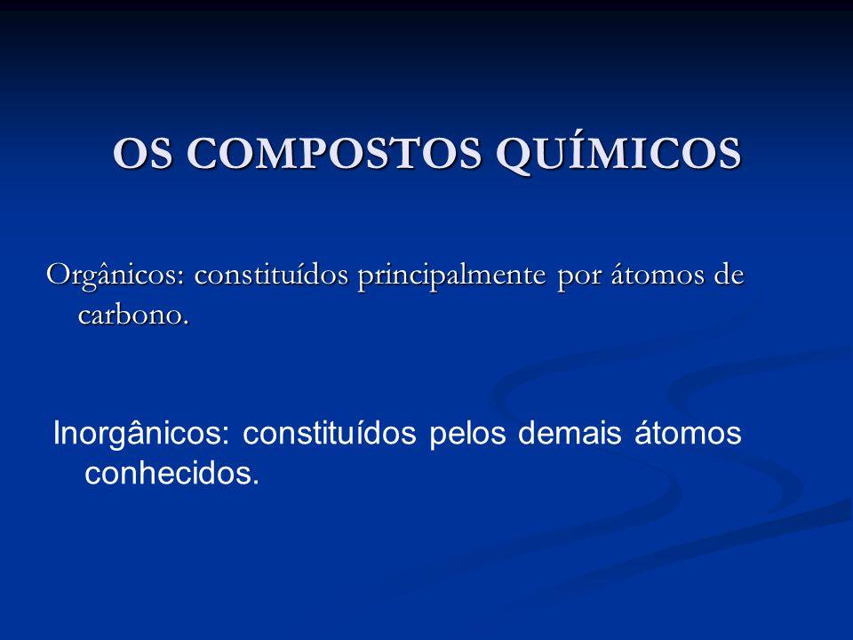 OS COMPOSTOS QUÍMICOS Orgânicos: constituídos principalmente por átomos de carbono.