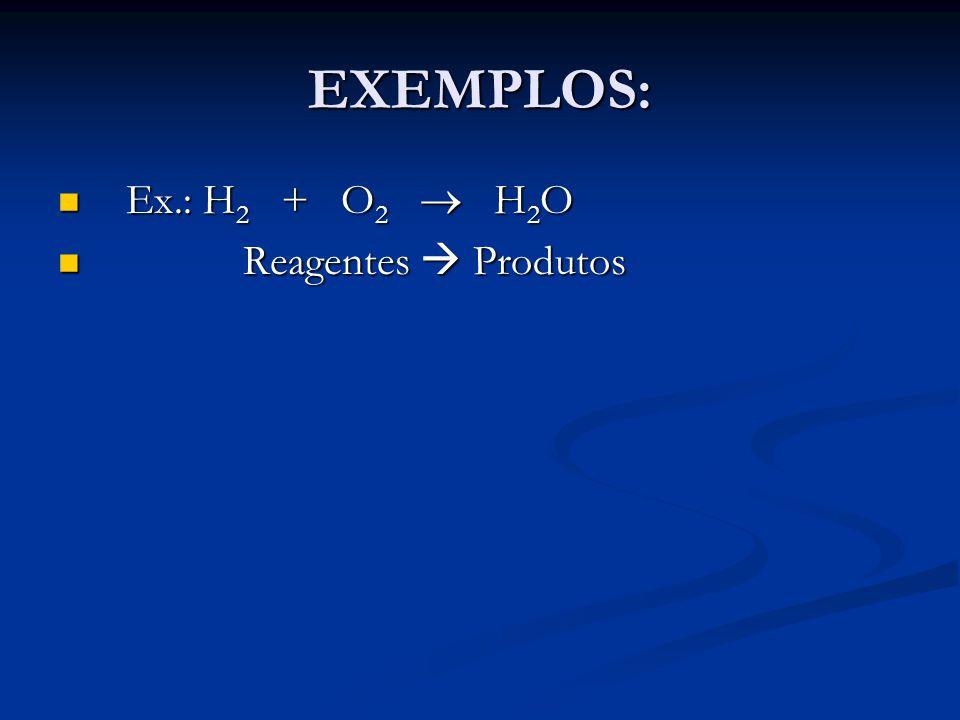 EXEMPLOS: Ex.: H2 + O2  H2O Reagentes  Produtos