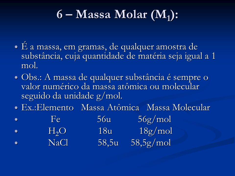 6 – Massa Molar (M1): É a massa, em gramas, de qualquer amostra de substância, cuja quantidade de matéria seja igual a 1 mol.