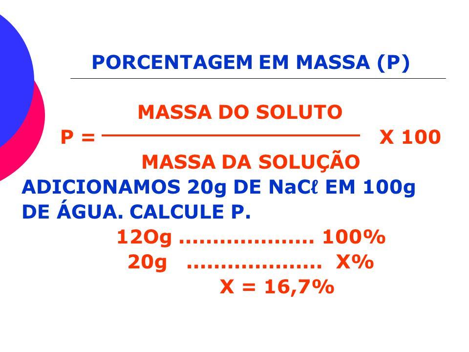 PORCENTAGEM EM MASSA (P)