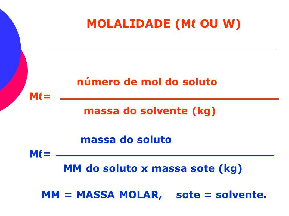 MM = MASSA MOLAR, sote = solvente.