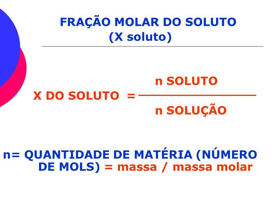 FRAÇÃO MOLAR DO SOLUTO (X soluto) n SOLUTO. X DO SOLUTO = n SOLUÇÃO.
