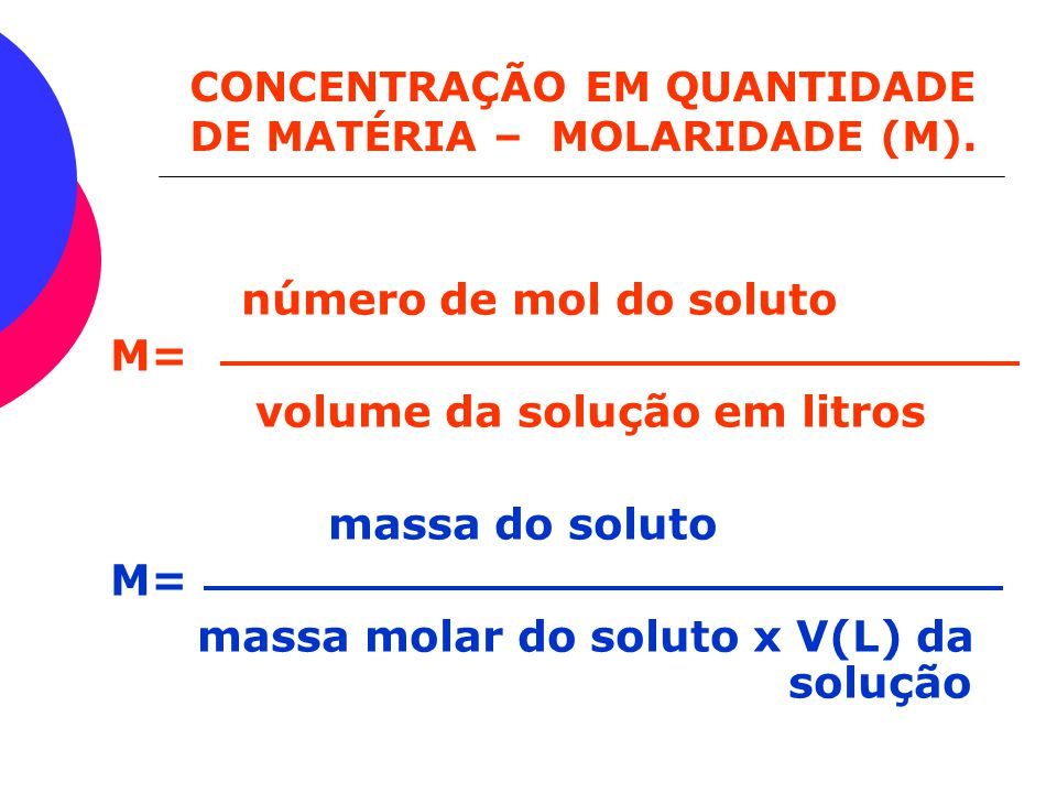 volume da solução em litros massa do soluto