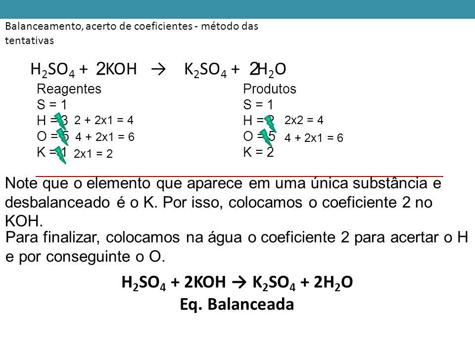 H2SO4 + 2KOH → K2SO4 + 2H2O Eq. Balanceada