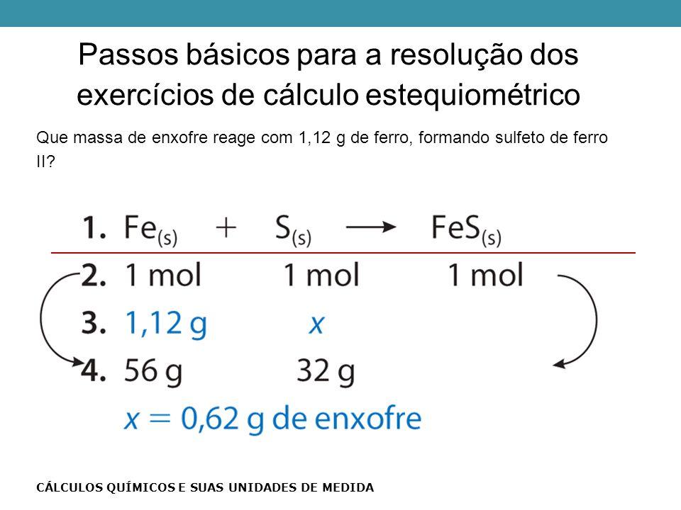 Passos básicos para a resolução dos exercícios de cálculo estequiométrico