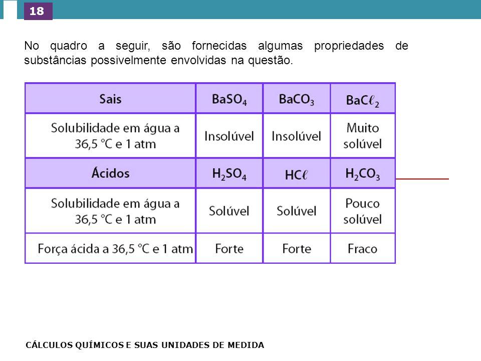 18 No quadro a seguir, são fornecidas algumas propriedades de substâncias possivelmente envolvidas na questão.