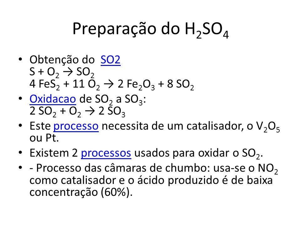 Preparação do H2SO4 Obtenção do SO2 S + O2 → SO2 4 FeS2 + 11 O2 → 2 Fe2O3 + 8 SO2. Oxidacao de SO2 a SO3: 2 SO2 + O2 → 2 SO3.