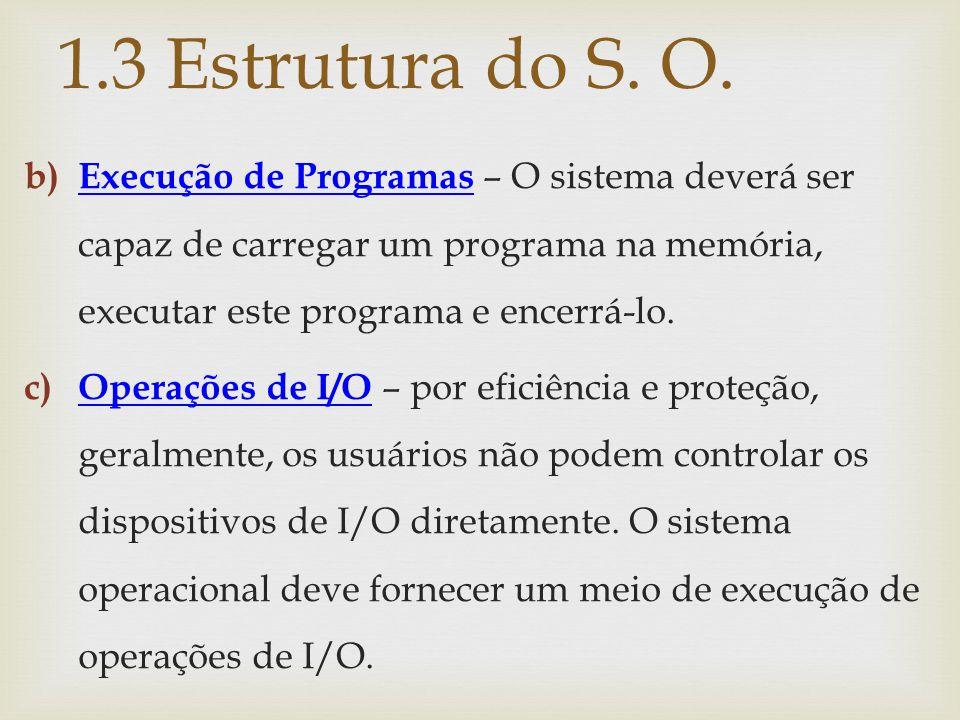 1.3 Estrutura do S. O. Execução de Programas – O sistema deverá ser capaz de carregar um programa na memória, executar este programa e encerrá-lo.