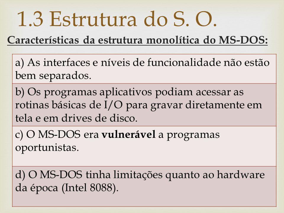 1.3 Estrutura do S. O. Características da estrutura monolítica do MS-DOS: a) As interfaces e níveis de funcionalidade não estão bem separados.