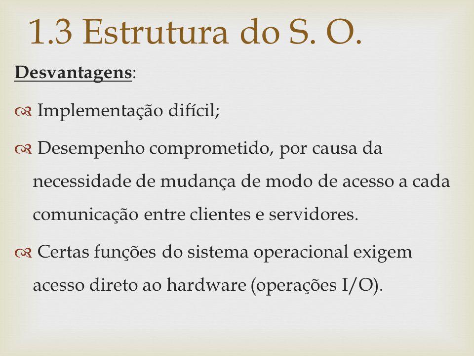 1.3 Estrutura do S. O. Desvantagens: Implementação difícil;