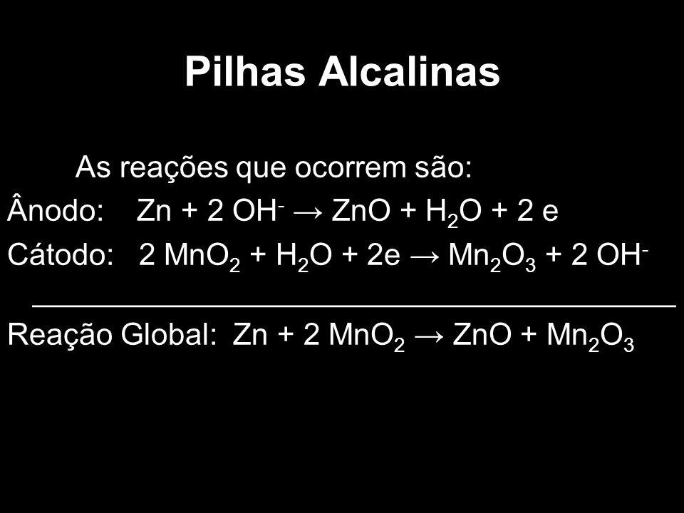 Pilhas Alcalinas As reações que ocorrem são: