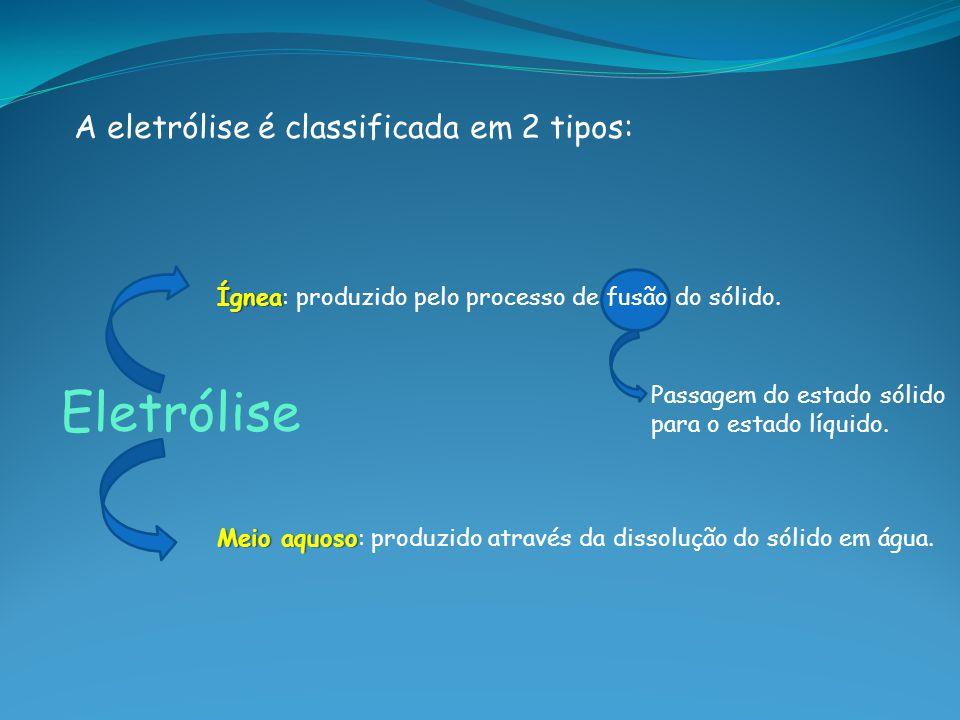 Eletrólise A eletrólise é classificada em 2 tipos: