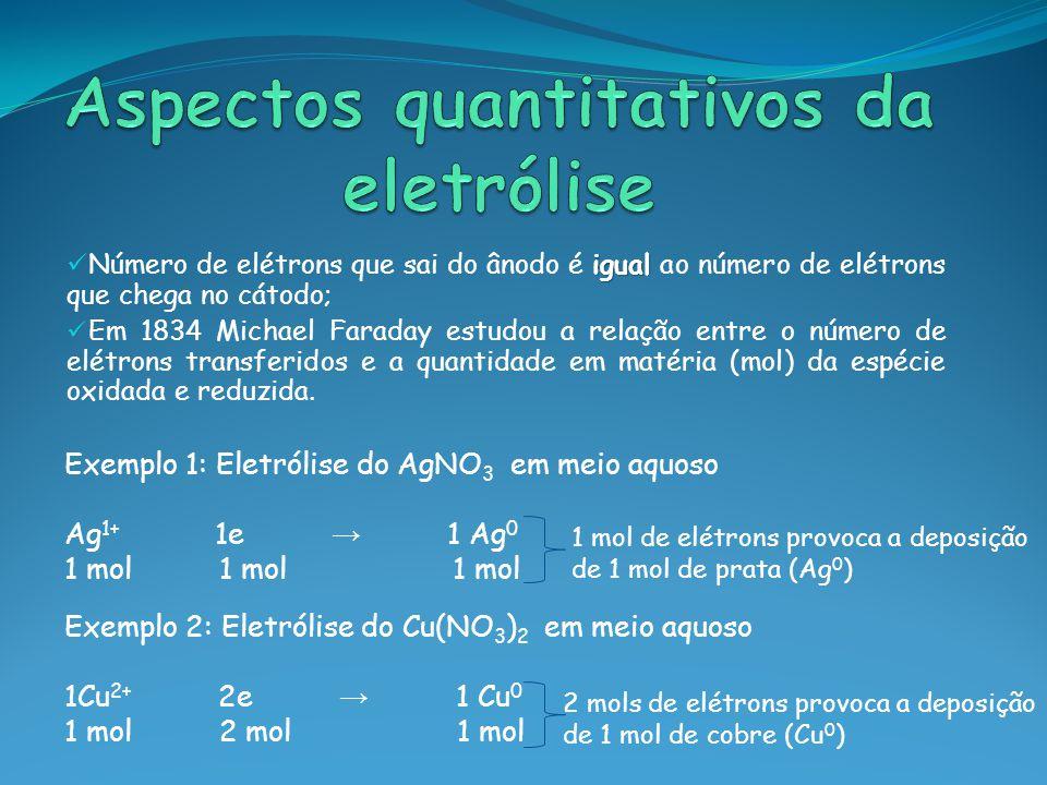 Aspectos quantitativos da eletrólise