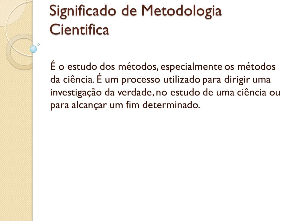 Significado de Metodologia Cientifica